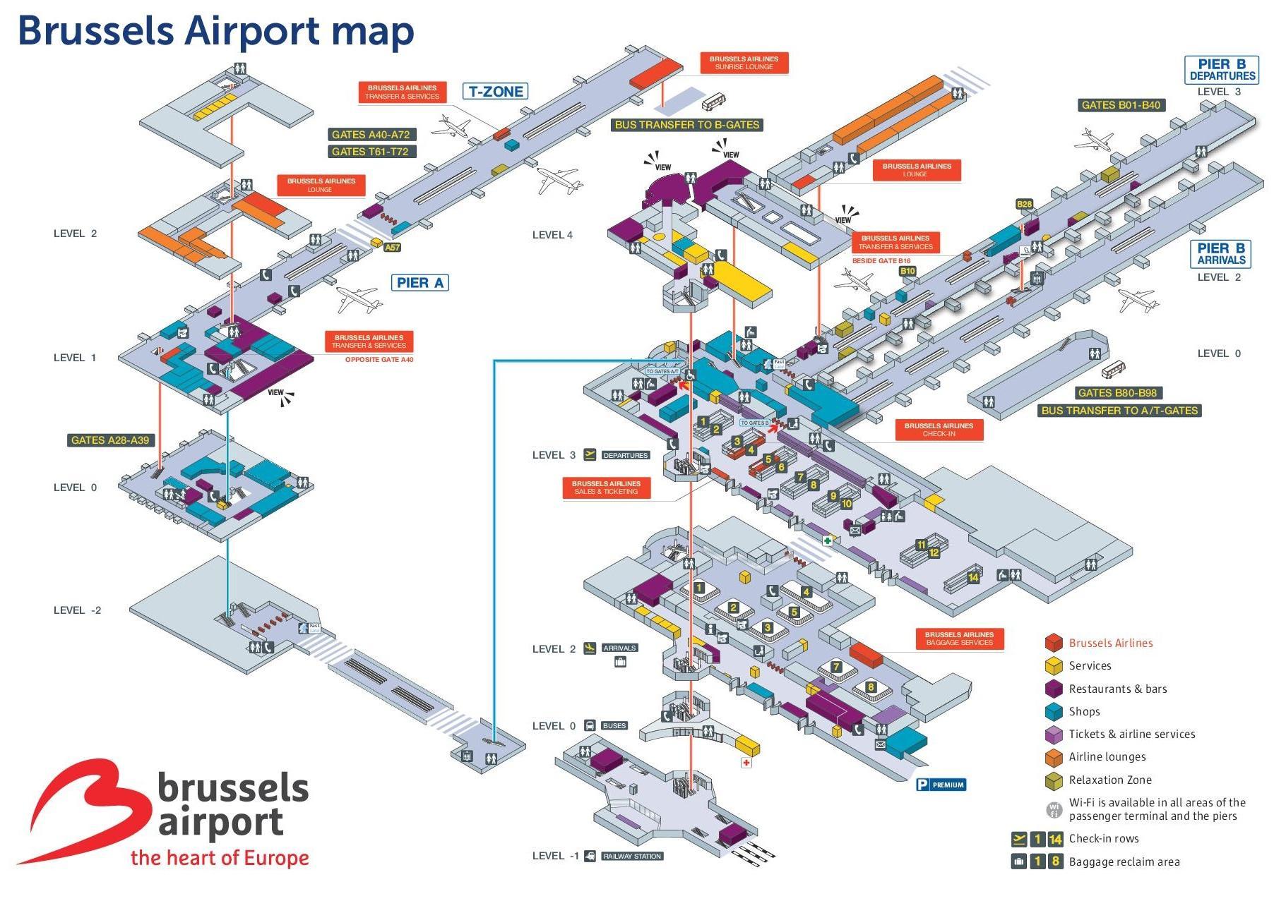 Brussels Airport Map Bruxelles Airport Map Belgium