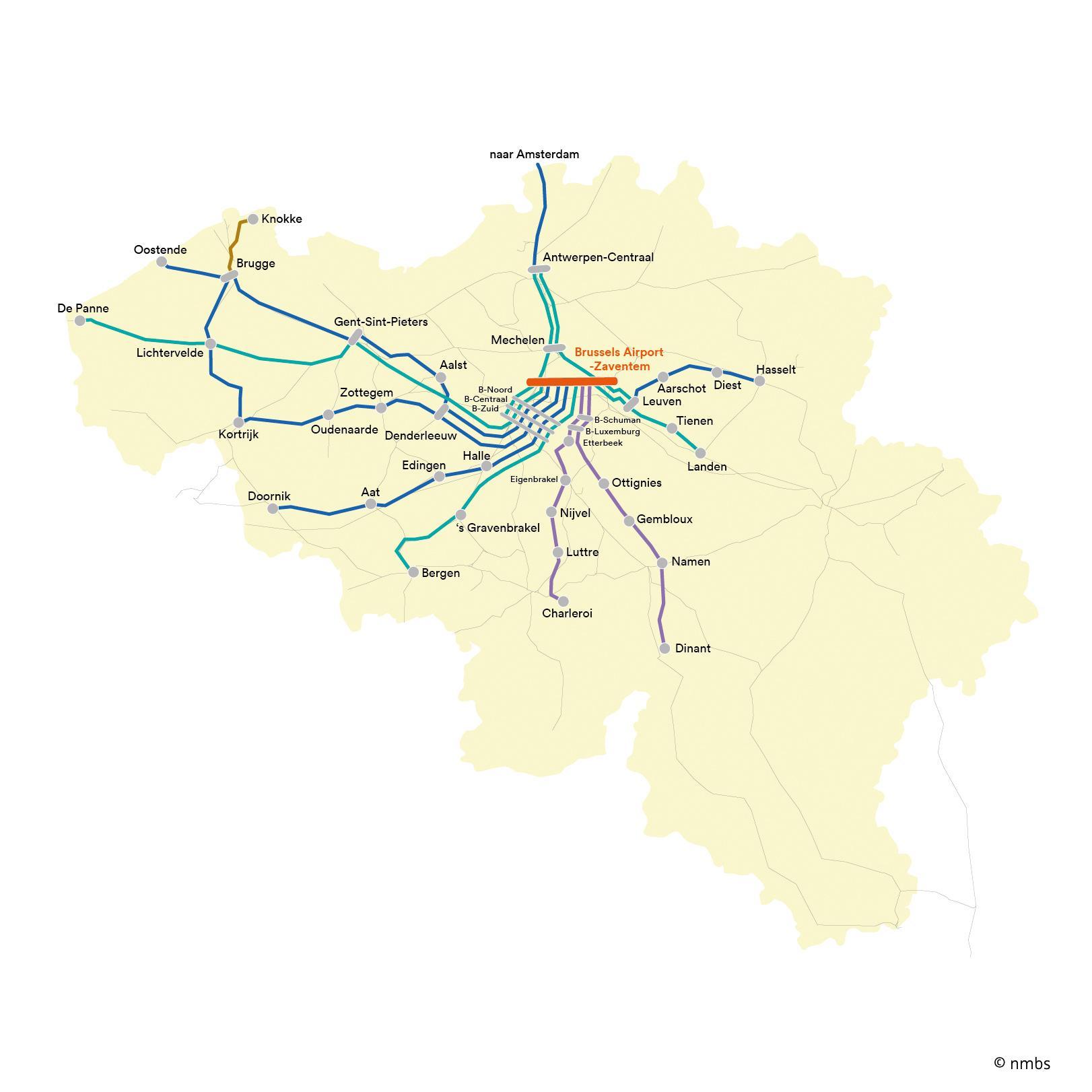 Brussels airport train map Brussels train map airport Belgium