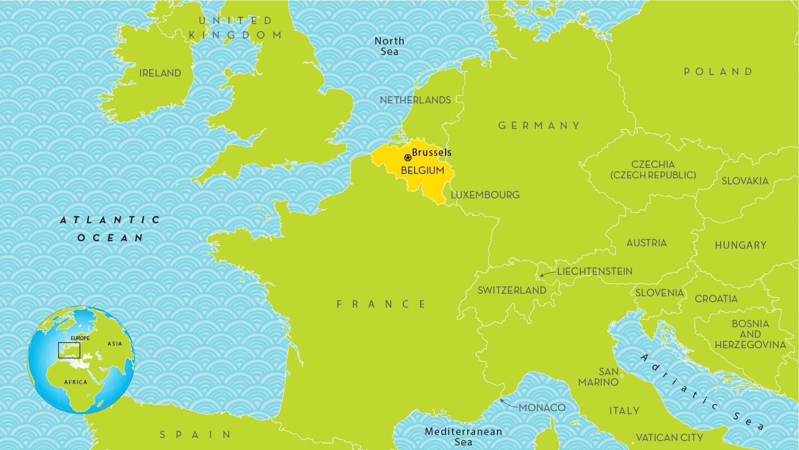 Brussels belgium map europe - Map of Brussels in europe ...