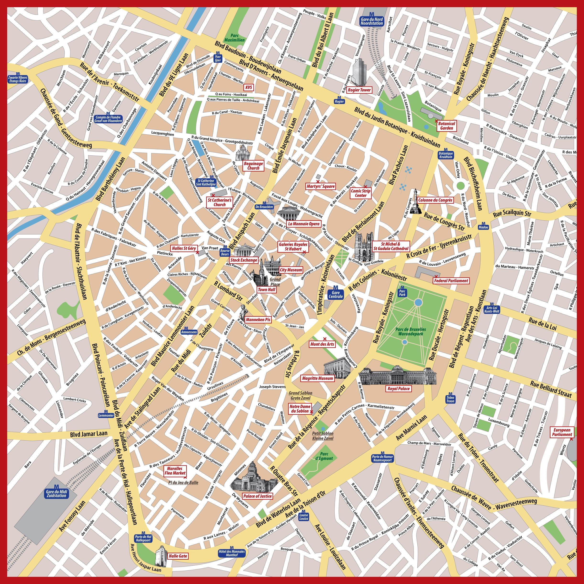 Brussels street map Bruxelles street map Belgium
