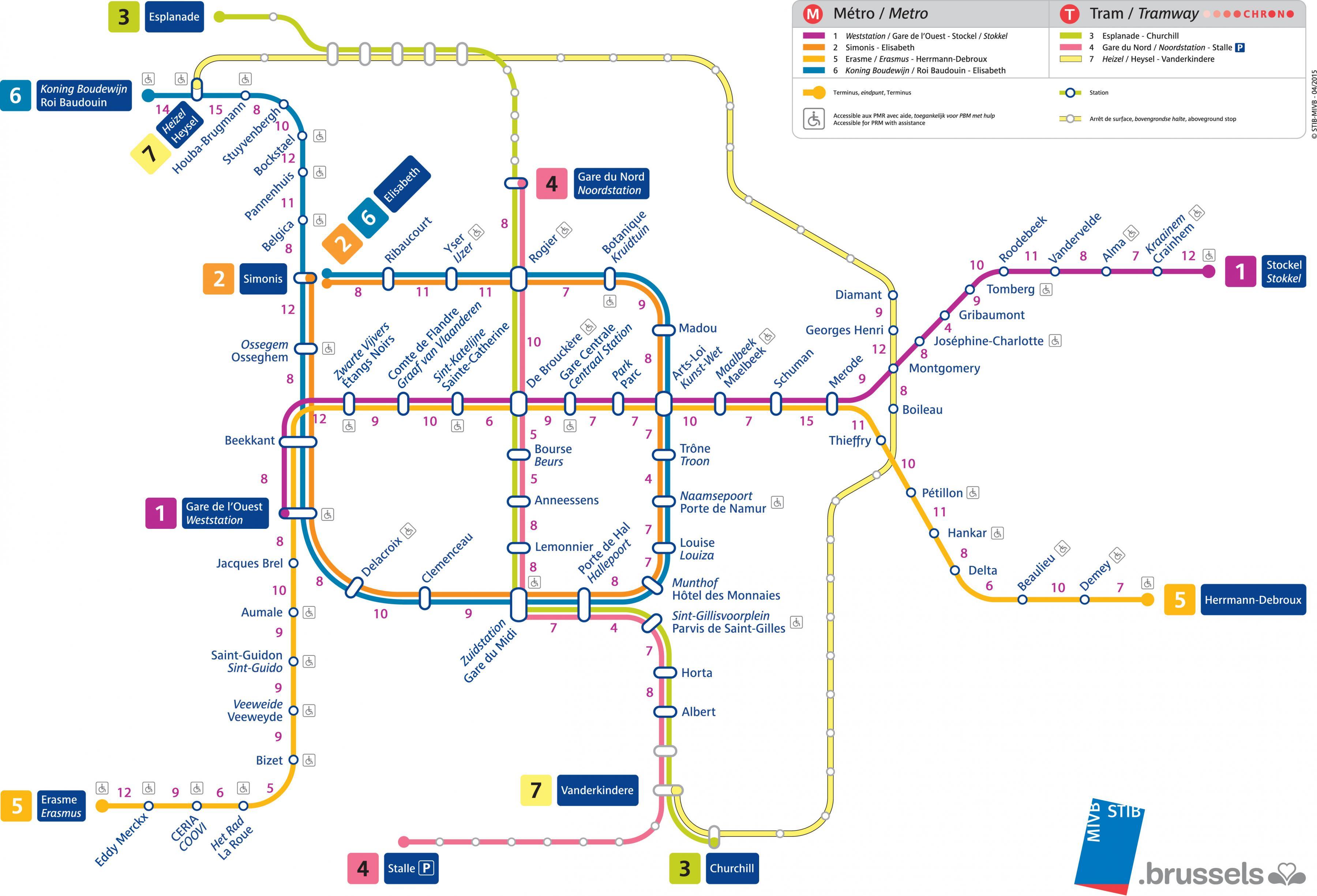Brussels tram map - Brussels tram network map (Belgium)