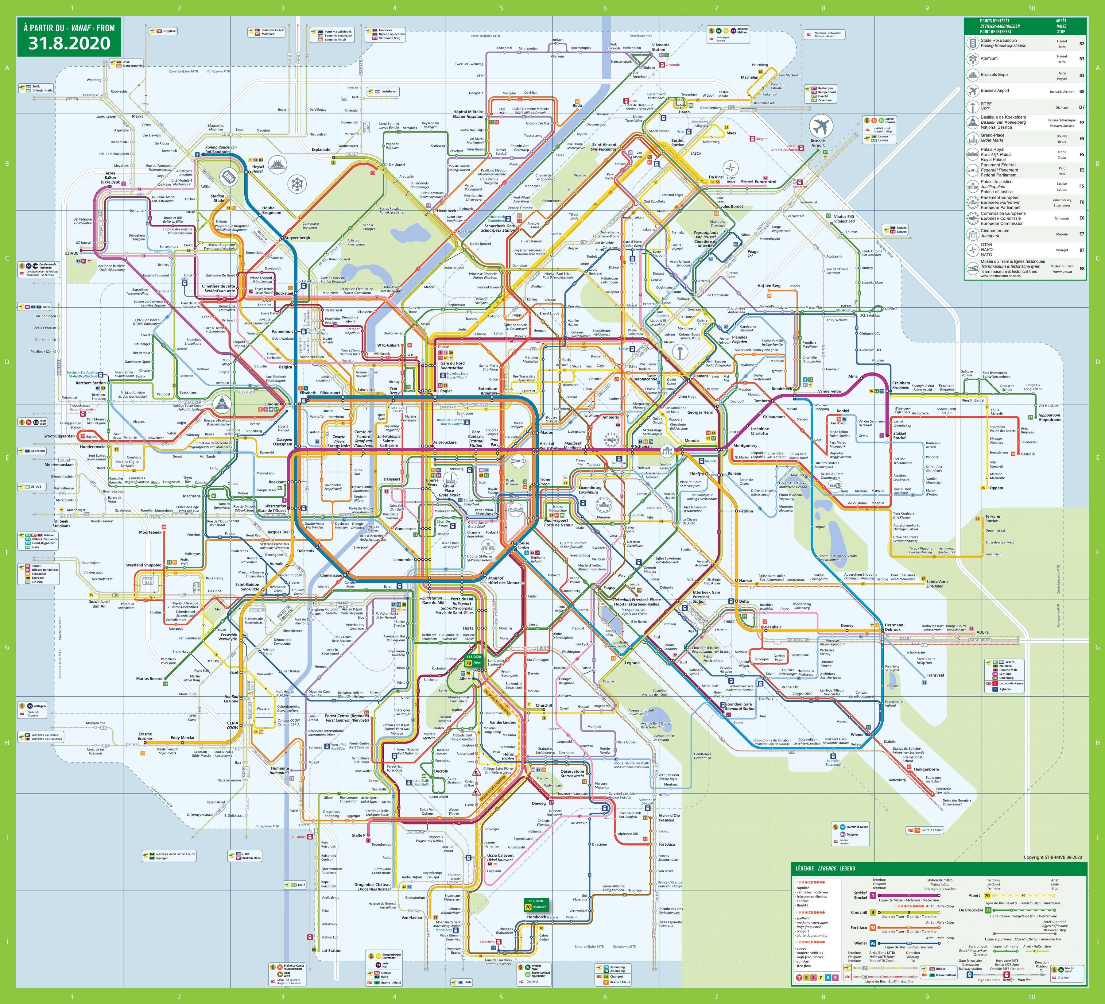 Brussels transport map Bruxelles transport map Belgium